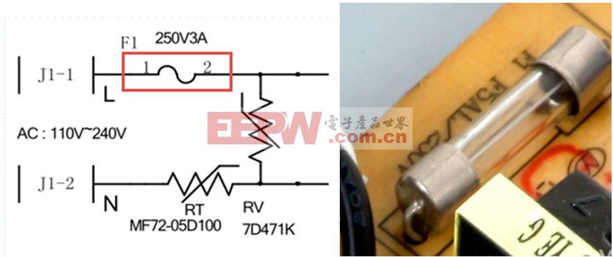 先认识一下电源的安规元件保险管如图3。   作用: 安全防护。在电源出现异常时,为了保护核心器件不受到损坏。   技术参数: 额定电压 ,额定电流 ,熔断时间 。   分类: 快断、慢断、常规   计算公式: 其中:Po:输出功率   效率:(设计的评估值)   Vinmin :最小的输入电压   2:为经验值,在实际应用中,保险管的取值范围是理论值的1.